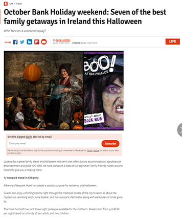 Seven of the best family getaways in Ireland this Halloween-RSVP live feature
