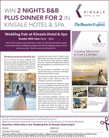 Kinsale Hotel & Spa in the Munster Express