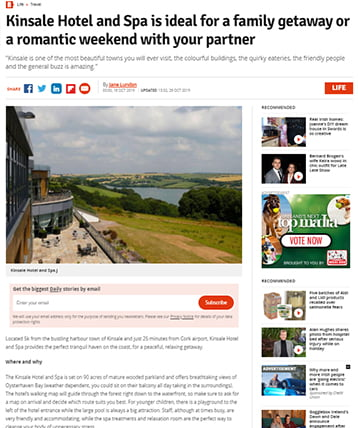 Kinsale Hotel and Spa is ideal for a family getaway or a romantic weekend with your partner- RSVP live feature