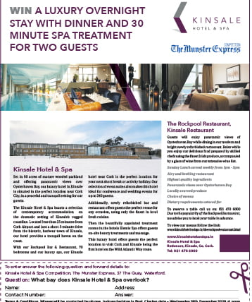 Munster Express Feature- Kinsale competition to win a luxury overnight stay and spa treatment for two