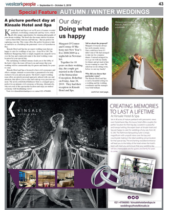 West Cork Feature on Weddings at Kinsale Hotel & Spa